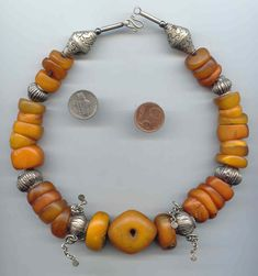 By Anne Marie ~ BeadArt Austria | Antique Mauritanian amber combined with antique silver beads from India and Turkmenistan.
