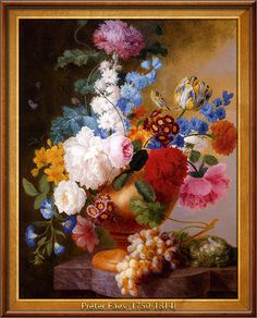 Pieter Faes - Still life of tulips, roses, peonies, narcissus, and other flowers in a urn