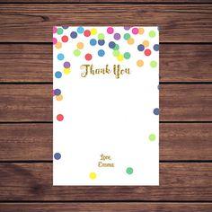 Rainbow Confetti Thank You Card Rainbow and by DesignedbyGeorgette