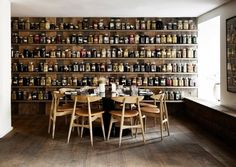 kitchen or bath - a wall of shelves with canning jars holding essentials can be beautiful.
