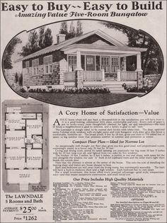 The Lawndale, shown in the 1930 Montgomery Ward kit home catalog, is a bit more than the expected tiny bungalow. Bungalow Exterior, Bungalow Homes, Bungalow House Plans, Craftsman Style Homes, Ranch House Plans, Craftsman Bungalows, House Floor Plans, Bungalow Ideas, The Plan