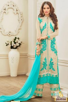 Let the love begin with season special collection of beige turquoise georgette palazzo suits online collection 2016. Fashionable pakistani style palazzo suits gives you all new look for evening party and special occasions. #partywearsalwarsuit, #pakistanisalwarsuit, #bhagalpuri, #salwarkameez, #embroiderypartywearsuit, #discountoffer, #palazzosuit, #marriagewear, #receptionwear http://www.pavitraa.in/store/palazzo-salwar-suits/ Any Query: Call Us:+91-7698234040