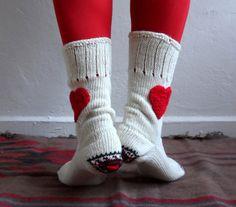 Cream Wool Socks Heart Socks Knit Wool Socks by fizzaccessory