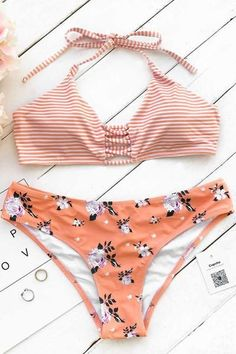 "Put on this halter bikini set and have a drink of orange juice! Product Code: CYY1041 Details: Stripe top and print bottom Halter design Shirring bottom With padding bra Regular wash Fabric: Chinlon Reference: model try on SIZE M, height 5'8"", weight 150 lbs, bust 36C SIZE(IN) USA UNDERBUST WAIST HIP S 4/6 26.0 28.4 29 #halterbikini"