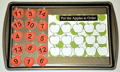 The Apple Number Sequence Cookie Sheet Activity is an apple or fall themed activity.  In this cookie sheet activity, students arrange the numbers in numerical order.  The numbers can be arranged in both ascending and descending order to provide two ways to practice sequencing.