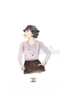 21fb5f6d231 Fashion Print Chanel Illustration Coco Watercolor Home Decor by  AlisonBillustrations on Etsy Fashion Prints