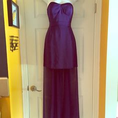 Amethyst BCBGeneration Mini Dress with Train Gorgeous deep violet/amethyst dress Strapless with seam details Short tube dress with dramatic sheer train Zipper on the back with hook and eye closure TAGS STILL ATTACHED/NEVER WORN!!! #tagsattached #neverworn #bcbcgeneration #bcbg #formaldress #longtrain #partydress #cocktaildress BCBGeneration Dresses Mini