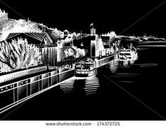Architectural sketch of white ink and pencil on black paper. Plein Air, cityscape. White lines on the black background. Ships and boats Ships sailing on the river Don. Embankment
