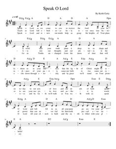 Speak O Lord by Keith Getty Free Sheet Music, Keyboard, In The Heights, Piano, Lord, Mindfulness, Christian, Teaching, How To Plan