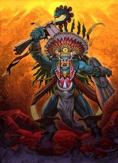 Huitzilopochtli: era o deus da guerra e do Estado Asteca. Era o deus padroeiro da cidade de Tenochtitlán