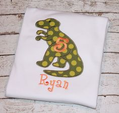 Hey, I found this really awesome Etsy listing at https://www.etsy.com/listing/177769544/boys-dinosaur-t-rex-birthday-shirt
