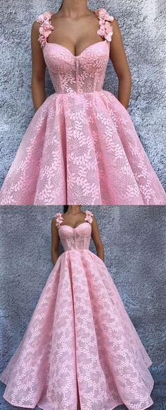 Ball Gown Spaghetti Straps Pink Lace Prom Dress with Flowers,P669