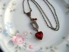 Victorian Red Heart Swarovski Necklace - Vintage Red Heart Crystal Jewel Necklace, Bronze, Art Deco, Estate Style Jewely