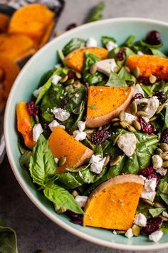 Roasted Butternut Squash Spinach Salad with Goat's Cheese