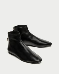 ZARA - WOMAN - FLAT LEATHER ANKLE BOOTS WITH ZIP