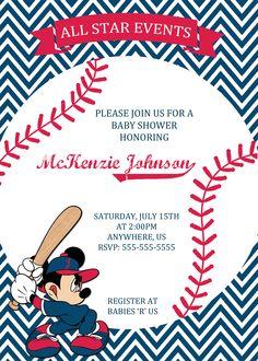 Mickey Mouse Baseball Baby Shower Invitation $8.99
