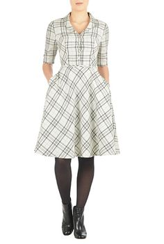 Shawl collar cotton check shirtdress $64.95 AT vintagedancer.com