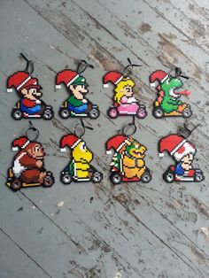 Items similar to Mario Christmas Ornaments - Super Mario Christmas Ornaments - Mario Christmas Tree - Nerdy Christmas Ornament - Geeky Christmas Ornaments on Etsy Hama Beads Design, Hama Beads Patterns, Beading Patterns, Christmas Perler Beads, Christmas Ornaments, Christmas Tree, Christmas Decorations, Perle Hama Star Wars, Hama Beads Mario