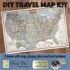 National Parks Map And USA Map Large Framed Push Pin Map Black - Large framed us map