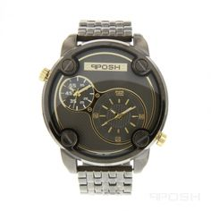 - Sporty dual-movement face design - Plated in a masculine gunmetal - Face… Gold Diamond Watches, Expensive Watches, Selling On Pinterest, Face Design, Steel Water, Bracelet Designs, Casio Watch, Cool Watches, Michael Kors Watch