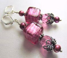 Rose Mauve Pink Murano Lampwork Glass Cube Earrings by BZOriginals