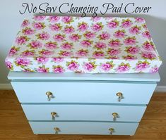 DIY no sew changing pad cover. Baby Girl nursery. Floral nursery. Teal and gold nursery.