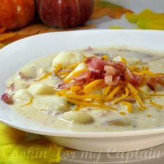 Paula Deen's baked potato soup. This is an amazing - easy and delicious soup...