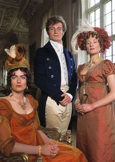 Mr Bingley and his two sisters (Anna Chancellor and Lucy Robinson) in Pride and Prejudice, BBC series 1995