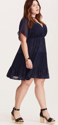 Plus Size Lace Inset Chiffon Dress