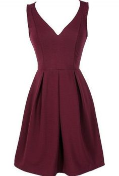 Meet The Parents Pleated A-Line Dress in Burgundy Like structure and color, needs higher neckline Pretty Outfits, Pretty Dresses, Beautiful Dresses, Cute Outfits, Creation Couture, Mode Inspiration, Mode Style, Dress Me Up, Homecoming Dresses