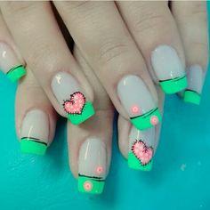 Nail Pops, French Tips, Summer Nails, Hair And Nails, Amanda, Beauty, Enamels, Work Nails, Creativity