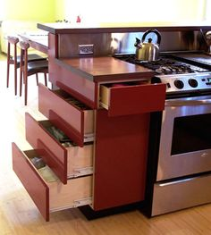 "Better use of narrow cabinet sections. Another pinner said"" Wish I had thought of this when we remodeled the kitchen."""