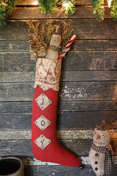 "Primitive Christmas Stocking ""on to do list"" using felted wool sweater"