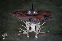 Rustic vanity with burl wood vanity top and antler base | Littlebranch Farm