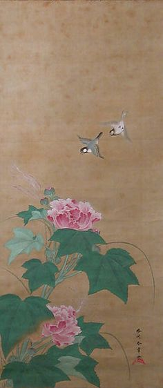 Genga magpie on viburnum branch japan muromachi period 1392 rose mallow fuy katsukawa shunsho japanese edo period century scroll ink color on silk sciox Gallery