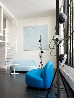 Trepied by Normal Studio Lamp with satin white or black epoxy lacquered steel reflectors in stamped aluminum on the outside and anodized on inside. The 3 reflectors are magnetic and can be positioned and freely oriented along the length of the pole. Fitted with a textile cord and a foot dimmer.  Live Beautifully! www.lignerosetsf.com  #Design #Lighting #LigneRosetSF