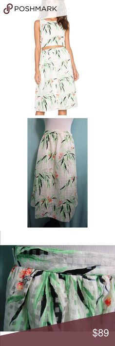 NWT Elizabeth and James Avenue Leaf Print Skirt Elizabeth and James Avenue Leaf Print Skirt. Gorgeous and so versatile. The craftsmanship on this skirt is wonderful.  No fast fashion here. No flaws. Size 8. Elizabeth and James Skirts