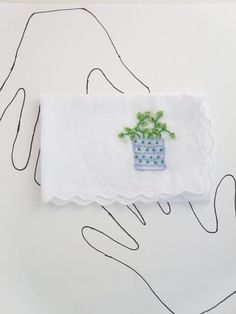 Embroidered Houseplant Hankie by wrenbirdarts