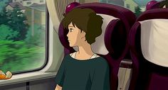 """Ghibli Trains - The train to Kissakibetsu, the seaside little town of When Marnie Was There "" Studio Ghibli Art, Studio Ghibli Movies, Erinnerungen An Marnie, When Marnie Was There, Anime Gifs, The Secret World, Film D'animation, Film Studio, Love Live"