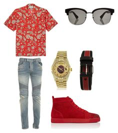 """""""Untitled #360"""" by aintdatjulian on Polyvore featuring Gucci, Balmain, Christian Louboutin, Rolex, Givenchy, men's fashion and menswear"""