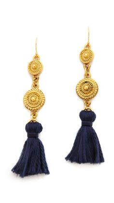 I didn't know I wanted tassel earrings until I saw a similar pair. I'd rather the tassel itself be a bit longer and the ornamentation a bit less dangly, but I also love the contrast between the blue and the gold, and the silk cord itself. But all my jewelry's platinum these days ...