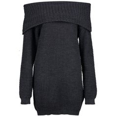 Boohoo Zoey Bardot Mini Knitted Dress ($18) ❤ liked on Polyvore featuring dresses, wrap dress, chunky knit turtleneck, mini party dresses, knit dress and chunky turtleneck