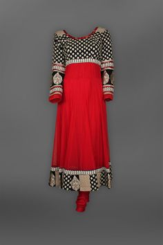 Indian Ethnic Red  Black Anarkali Suit