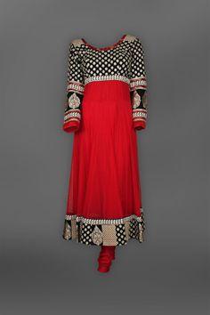 Indian Ethnic Red & Black Anarkali Suit