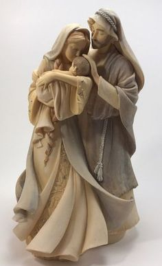 Karen Hahn ENESCO Foundations Nativity 2013 Holy Family Jesus Statue~~What a very tender and loving Holy Family figurine! Catholic Art, Religious Art, Immaculée Conception, La Salette, Christmas Nativity Set, Christmas Bells, Sainte Therese, Religion, Mary And Jesus