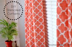 Today I want to share how I made my own stencil and how I used that stencil to make curtain panels for my living room. Decor, How To Make Curtains, Coral Curtains, Curtains, Stencil Diy, Stenciled Curtains, Living Room Decor, Make Your Own Stencils, Window Casing
