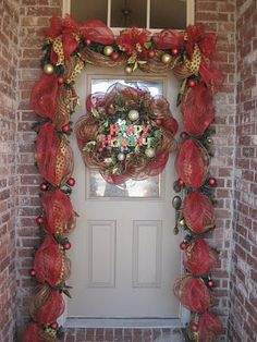 Deco Mesh Ribbon Garland And Matching Wreath For Winter Holidays Christmas Door Decorations