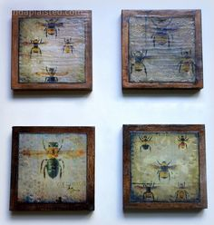 Set of Four Encaustic Mixed Media Paintings...Linda Plaisted.