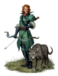 Female Human Hunter with Animal Companion - Pathfinder PFRPG DND D&D d20 fantasy