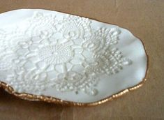 Ceramic Lace handmade pottery Bowl by dgordon on Etsy